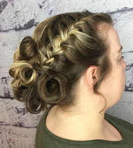 braided updo at Voodou hair salons Liverpool