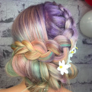 pastel rainbow hair, pastel braids for festival season at voodou liverpool hair salons