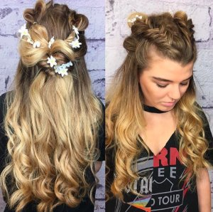 bohemian braids with flowers for festival hair at voodou liverpool hair salons