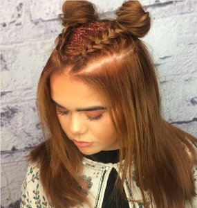 glitter roots, space buns and braids for festival hair at voodou liverpool hair salons