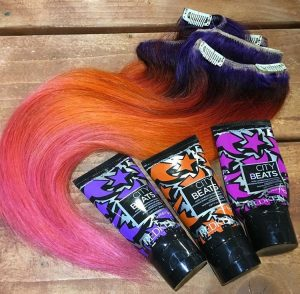 redken city beats custom dyed rainbow sunset hair extensions at voodou liverpool hair salons