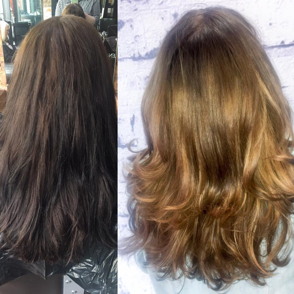 brunette to dark blonde hair colour transformation