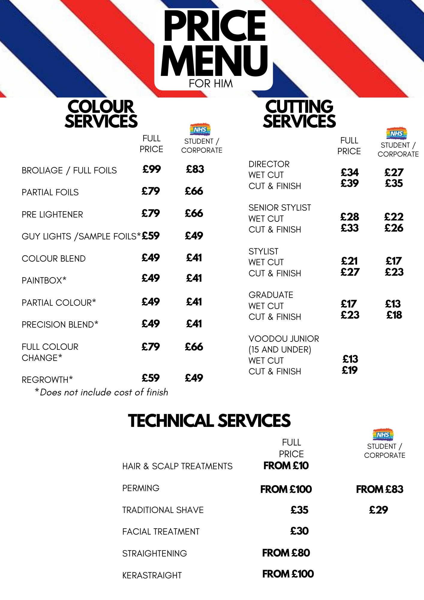 BARBERS PRICE LIST NEW
